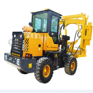 Loaded high efficiency drilling guardrail pile driver